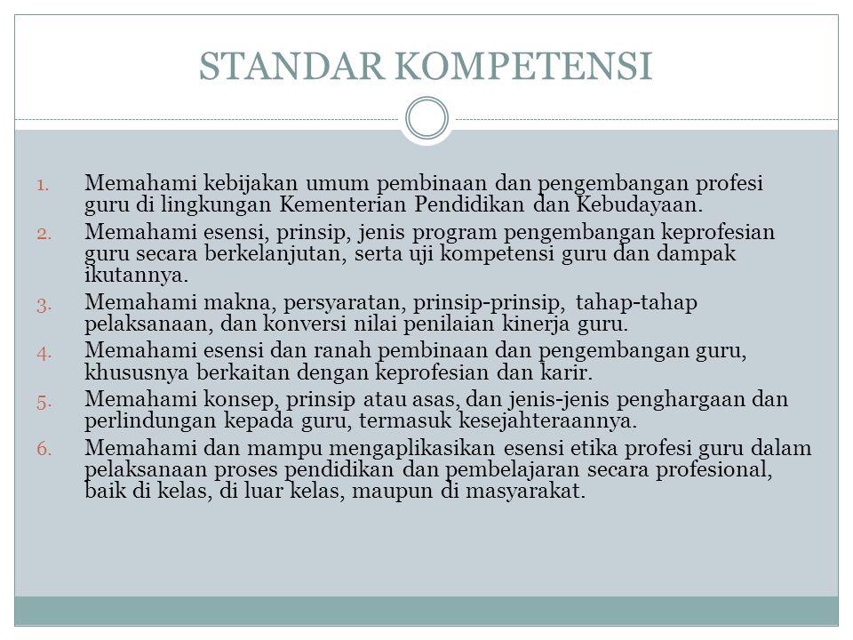 STANDAR KOMPETENSI Memahami kebijakan umum pembinaan dan pengembangan profesi guru di lingkungan Kementerian Pendidikan dan Kebudayaan.