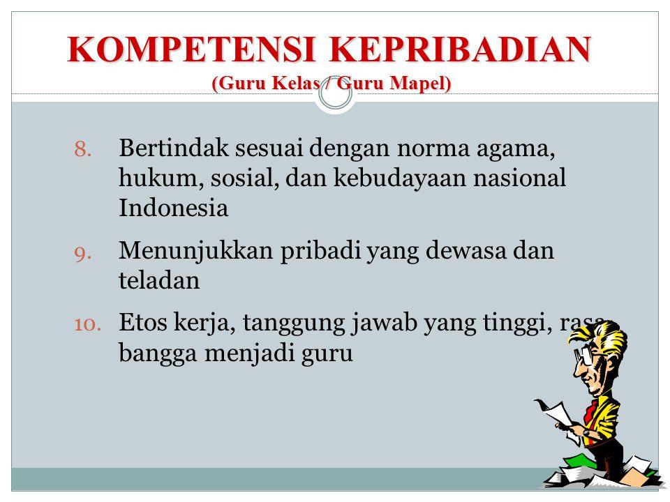 KOMPETENSI KEPRIBADIAN (Guru Kelas / Guru Mapel)