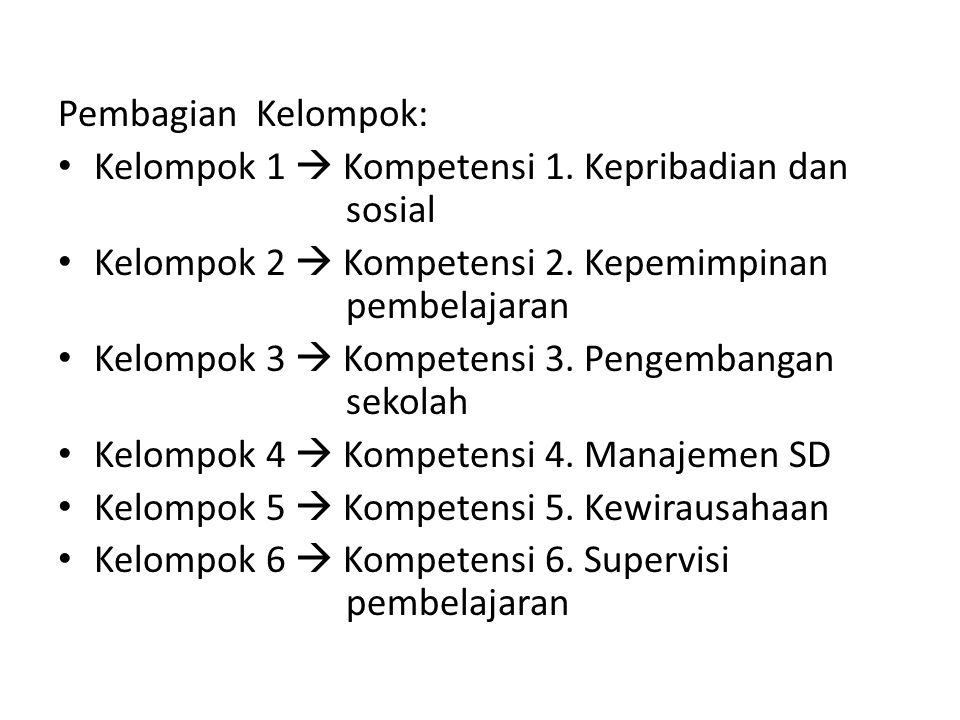 Pembagian Kelompok: Kelompok 1  Kompetensi 1. Kepribadian dan sosial. Kelompok 2  Kompetensi 2. Kepemimpinan pembelajaran.