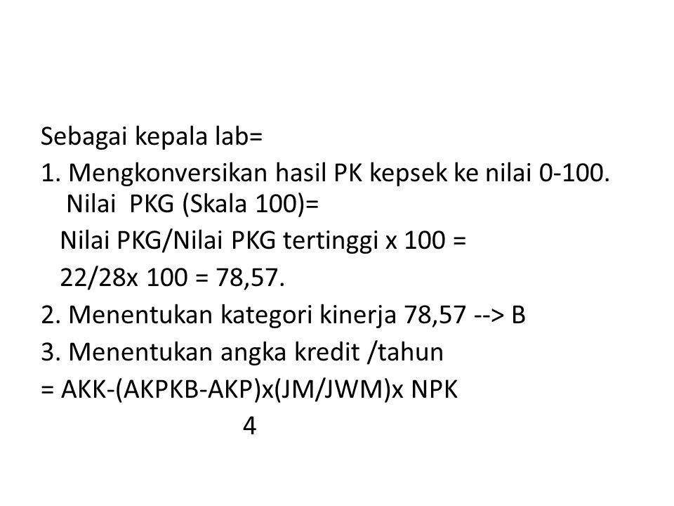 Sebagai kepala lab= 1. Mengkonversikan hasil PK kepsek ke nilai 0-100