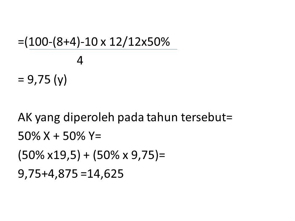 =(100-(8+4)-10 x 12/12x50% 4. = 9,75 (y) AK yang diperoleh pada tahun tersebut= 50% X + 50% Y= (50% x19,5) + (50% x 9,75)=