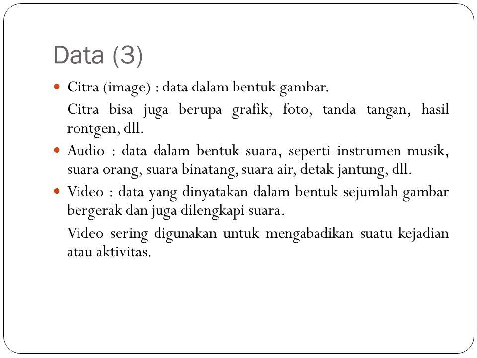 Data (3) Citra (image) : data dalam bentuk gambar.