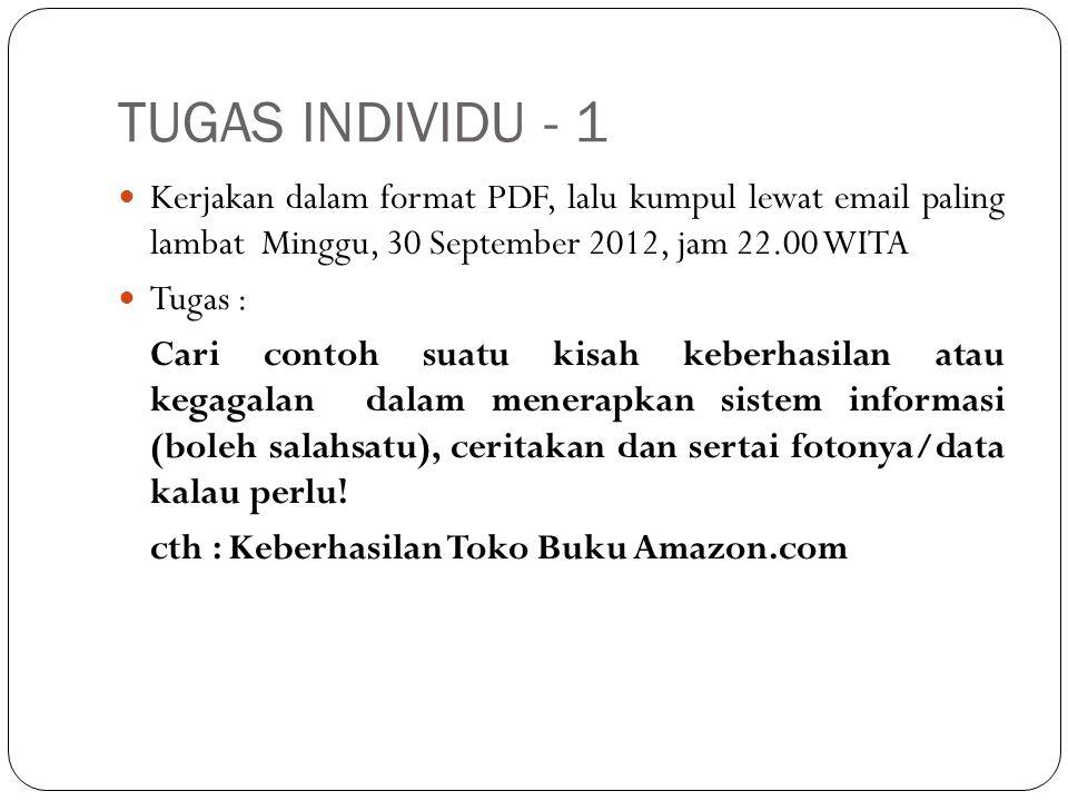 TUGAS INDIVIDU - 1 Kerjakan dalam format PDF, lalu kumpul lewat email paling lambat Minggu, 30 September 2012, jam 22.00 WITA.