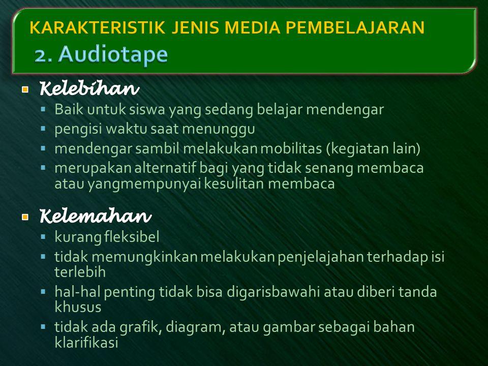 KARAKTERISTIK JENIS MEDIA PEMBELAJARAN 2. Audiotape