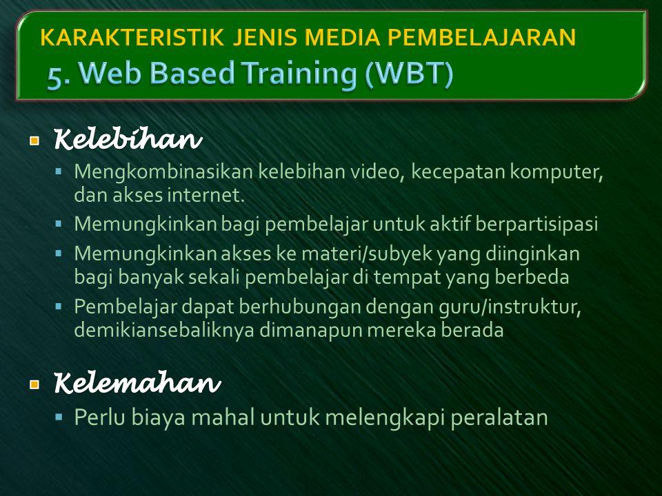 KARAKTERISTIK JENIS MEDIA PEMBELAJARAN 5. Web Based Training (WBT)