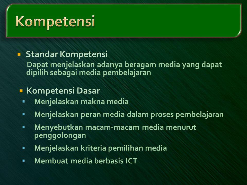 Kompetensi Standar Kompetensi Kompetensi Dasar