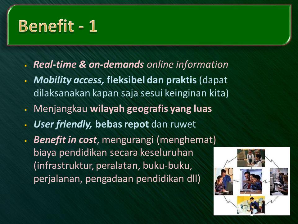 Benefit - 1 Real-time & on-demands online information