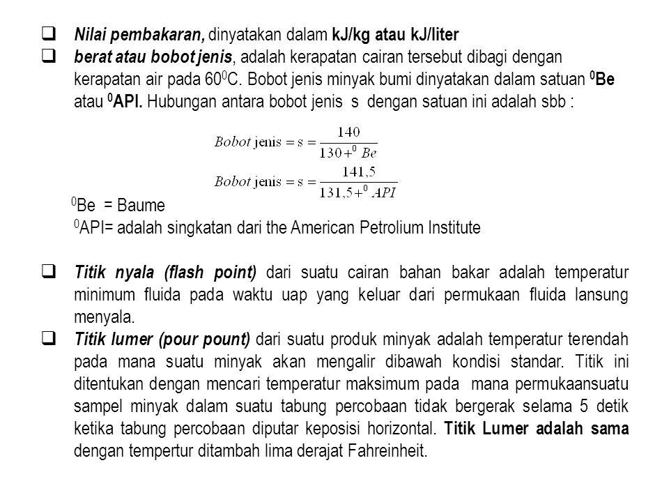 Nilai pembakaran, dinyatakan dalam kJ/kg atau kJ/liter