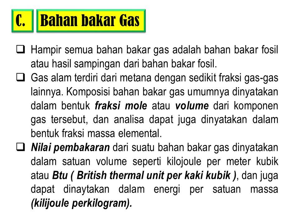 Bahan bakar Gas C. Hampir semua bahan bakar gas adalah bahan bakar fosil atau hasil sampingan dari bahan bakar fosil.