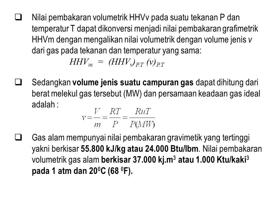 Nilai pembakaran volumetrik HHVv pada suatu tekanan P dan temperatur T dapat dikonversi menjadi nilai pembakaran grafimetrik HHVm dengan mengalikan nilai volumetrik dengan volume jenis v dari gas pada tekanan dan temperatur yang sama: