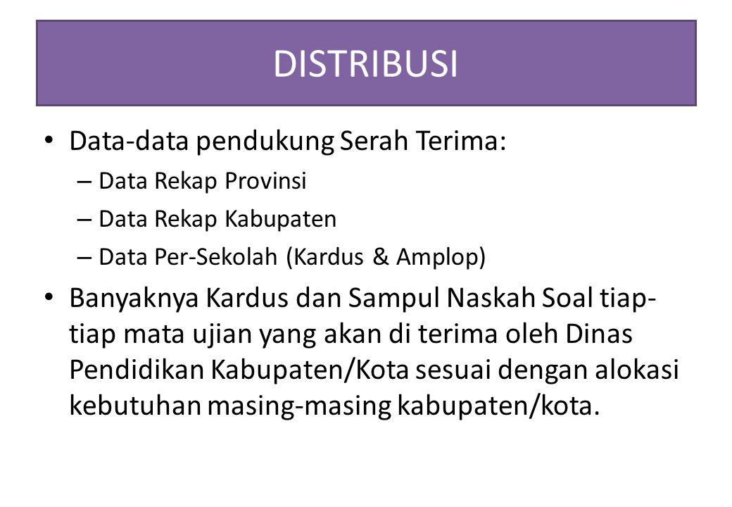 DISTRIBUSI Data-data pendukung Serah Terima: