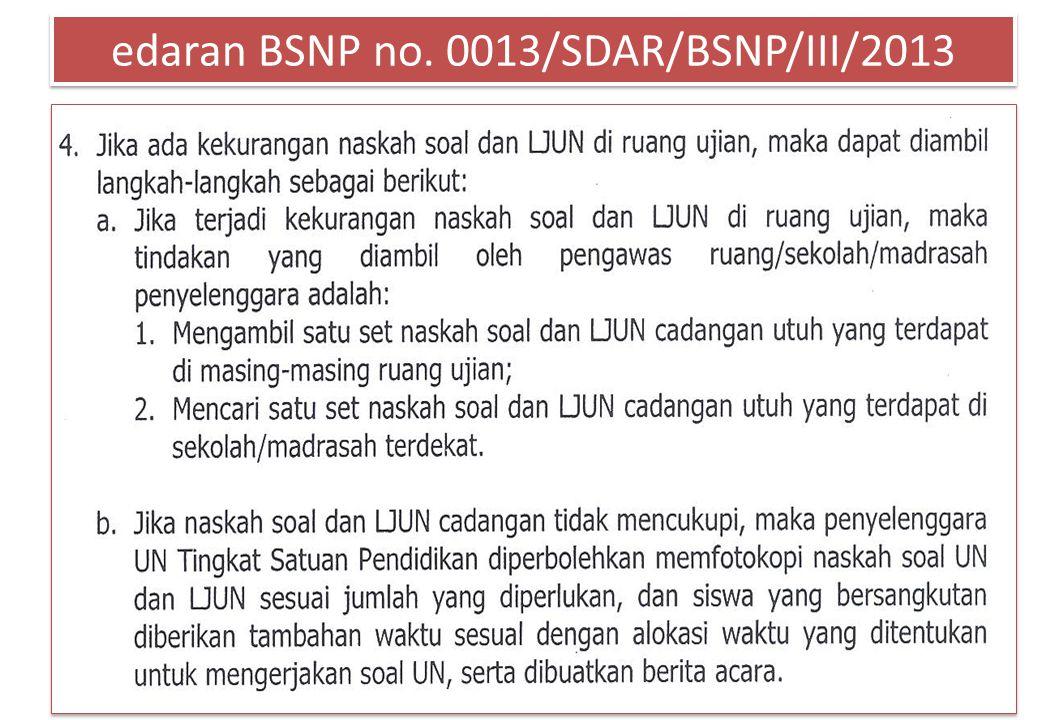 edaran BSNP no. 0013/SDAR/BSNP/III/2013