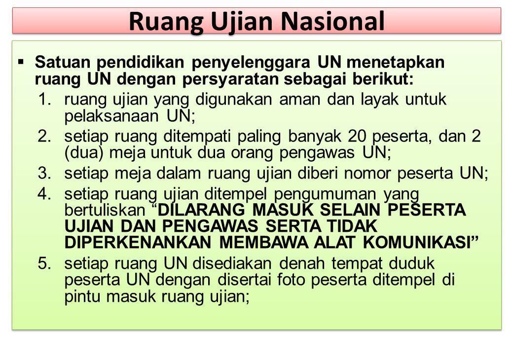 Ruang Ujian Nasional Satuan pendidikan penyelenggara UN menetapkan ruang UN dengan persyaratan sebagai berikut: