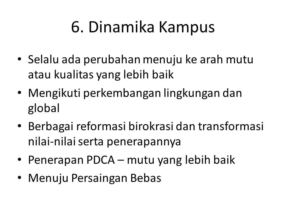 6. Dinamika Kampus Selalu ada perubahan menuju ke arah mutu atau kualitas yang lebih baik. Mengikuti perkembangan lingkungan dan global.