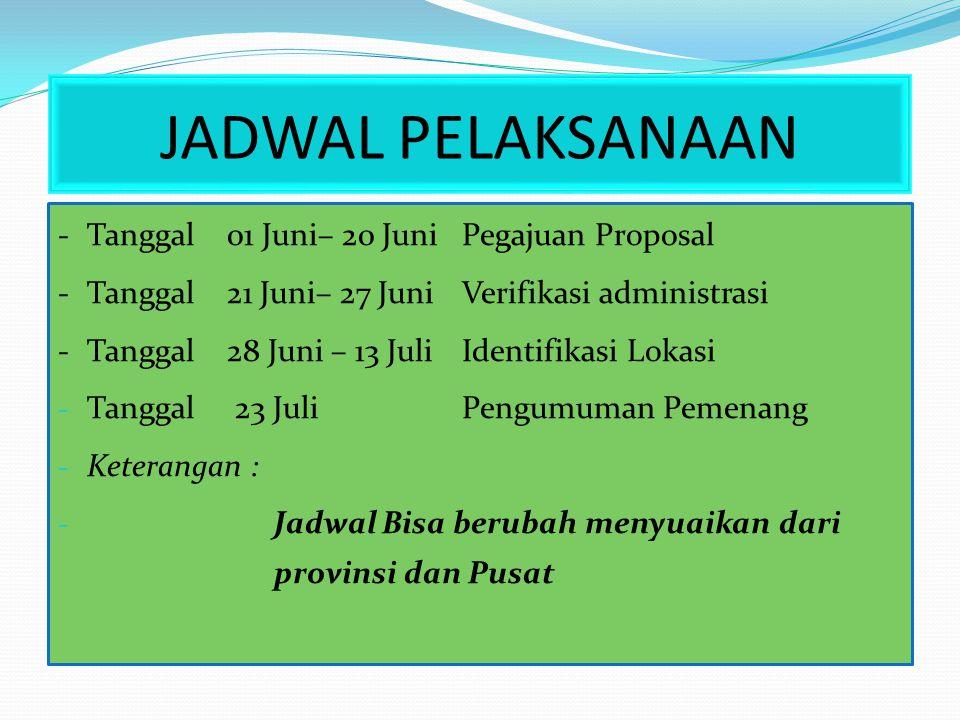 JADWAL PELAKSANAAN - Tanggal 01 Juni– 20 Juni Pegajuan Proposal