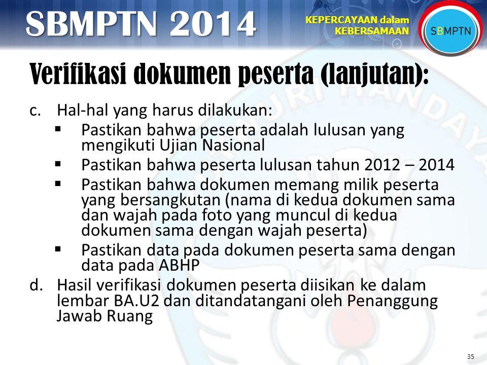 Verifikasi dokumen peserta (lanjutan):