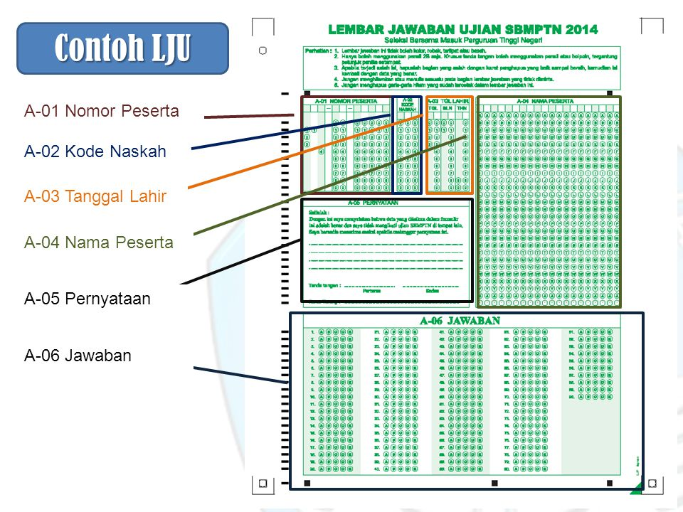 Contoh LJU A-01 Nomor Peserta A-02 Kode Naskah A-03 Tanggal Lahir