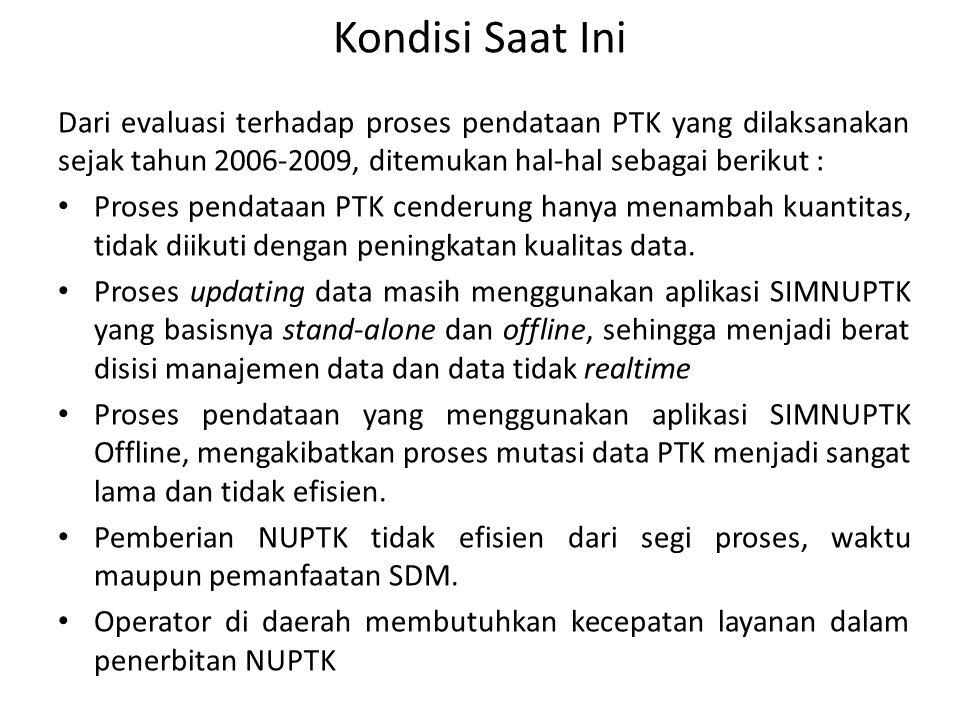Kondisi Saat Ini Dari evaluasi terhadap proses pendataan PTK yang dilaksanakan sejak tahun 2006-2009, ditemukan hal-hal sebagai berikut :