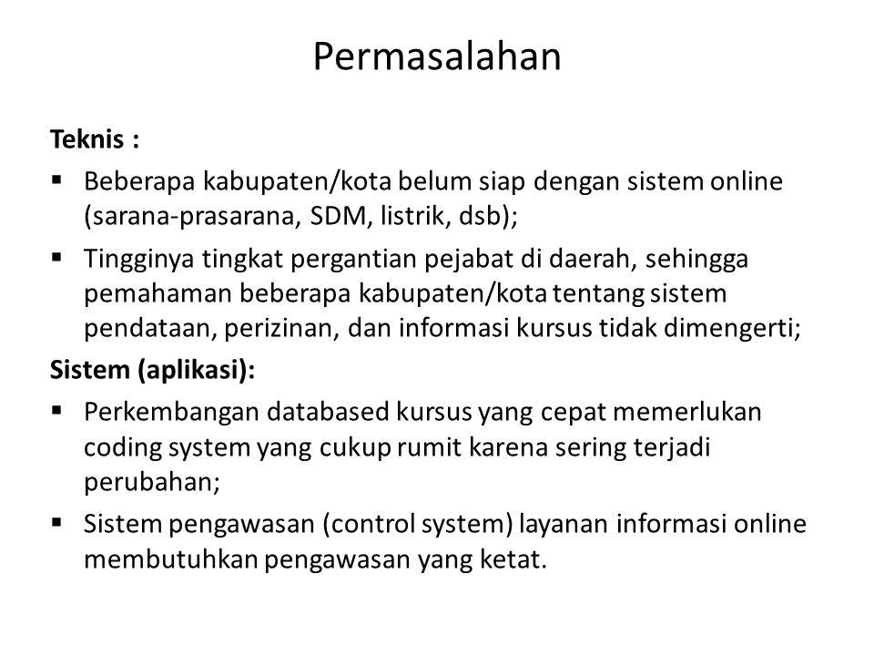 Permasalahan Teknis : Beberapa kabupaten/kota belum siap dengan sistem online (sarana-prasarana, SDM, listrik, dsb);