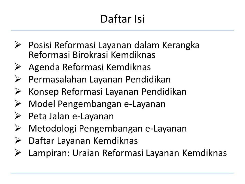 Daftar Isi Posisi Reformasi Layanan dalam Kerangka Reformasi Birokrasi Kemdiknas. Agenda Reformasi Kemdiknas.