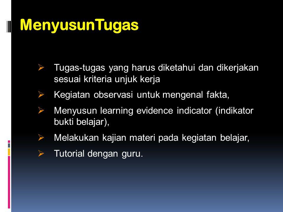 MenyusunTugas Berisi instruksi untuk peserta diklat meliputi