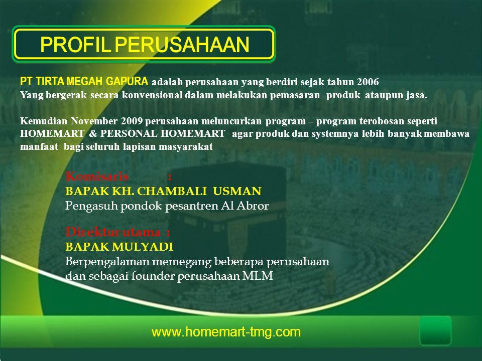 PROFIL PERUSAHAAN Komisaris : Direktur utama : www.homemart-tmg.com