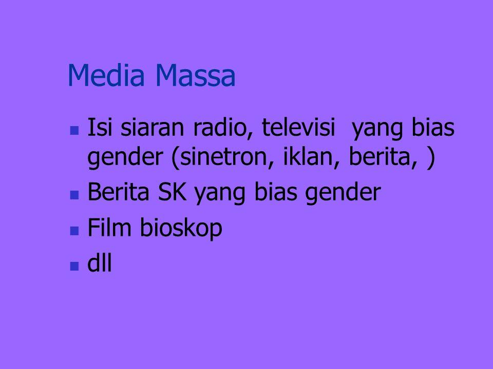 Media Massa Isi siaran radio, televisi yang bias gender (sinetron, iklan, berita, ) Berita SK yang bias gender.