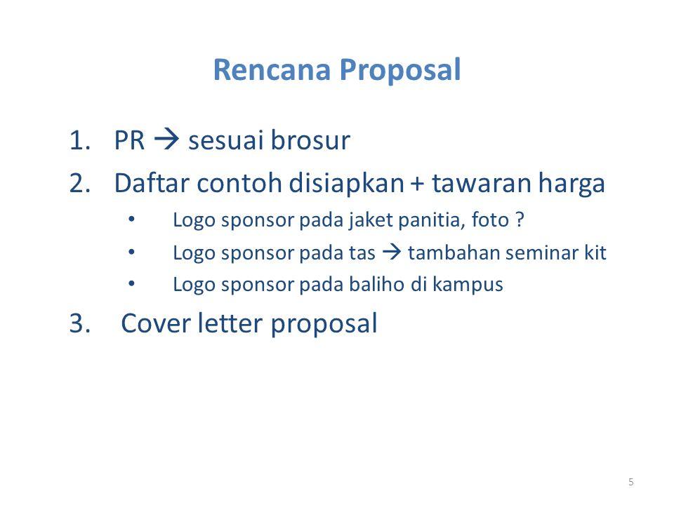 Rencana Proposal PR  sesuai brosur