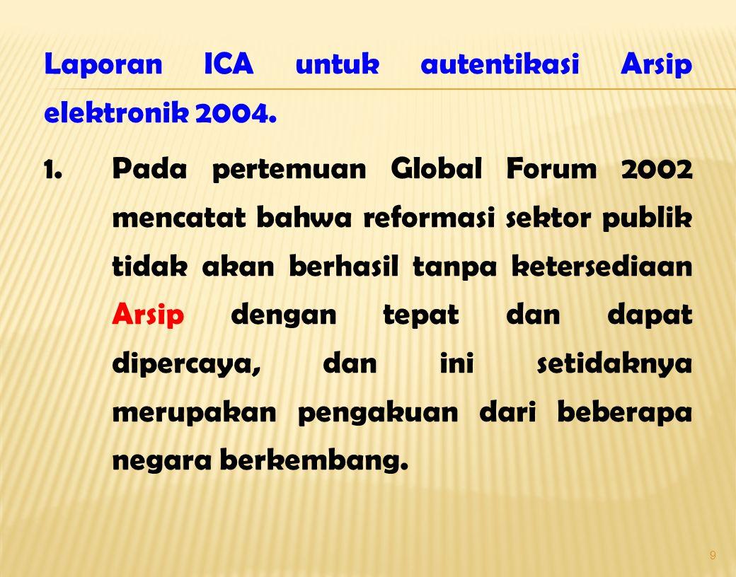 Laporan ICA untuk autentikasi Arsip elektronik 2004. 1