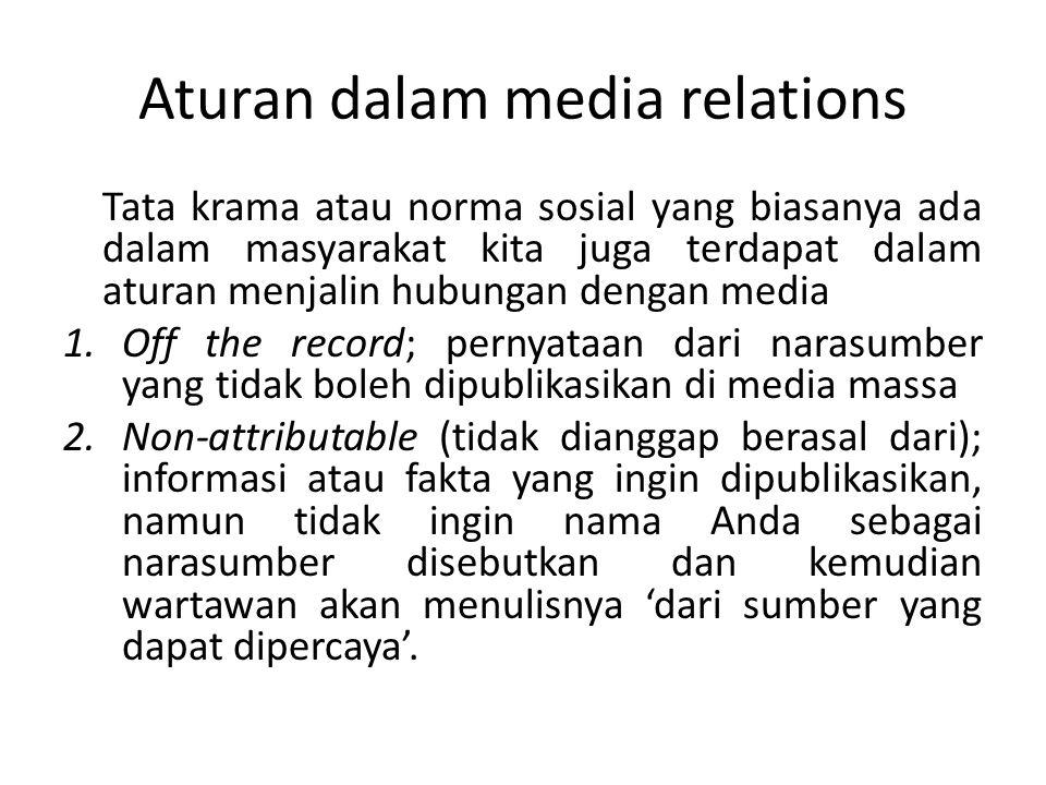 Aturan dalam media relations