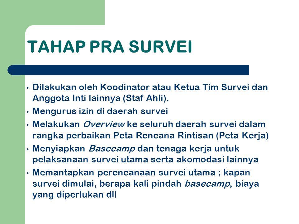 TAHAP PRA SURVEI Dilakukan oleh Koodinator atau Ketua Tim Survei dan Anggota Inti lainnya (Staf Ahli).