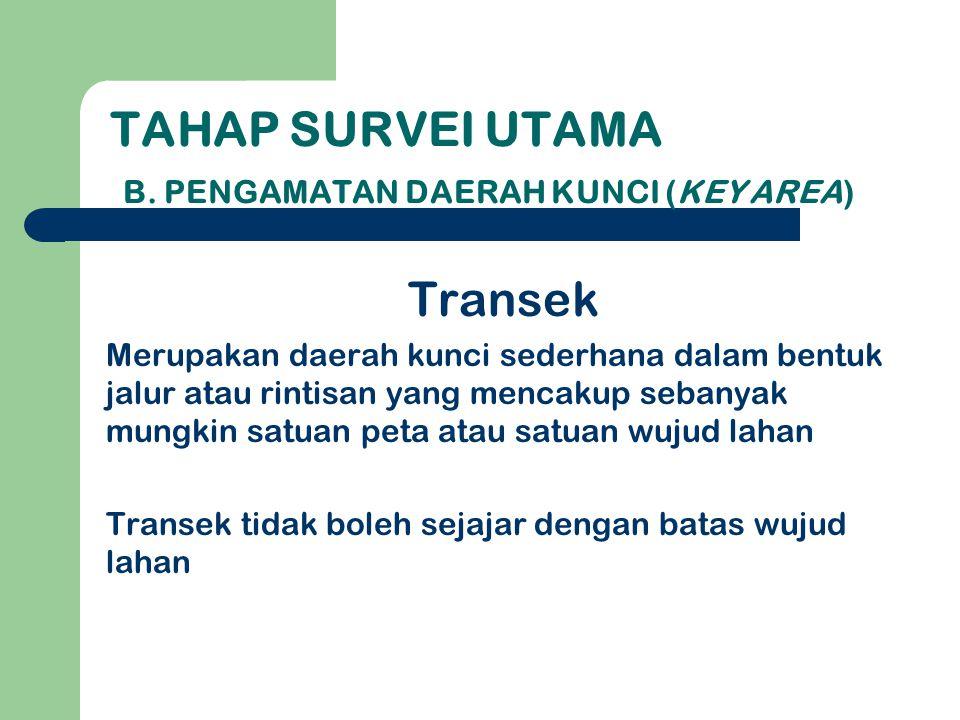 Tahap survei utama B. Pengamatan Daerah Kunci (Key Area)