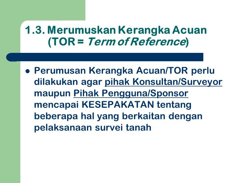 1.3. Merumuskan Kerangka Acuan (TOR = Term of Reference)