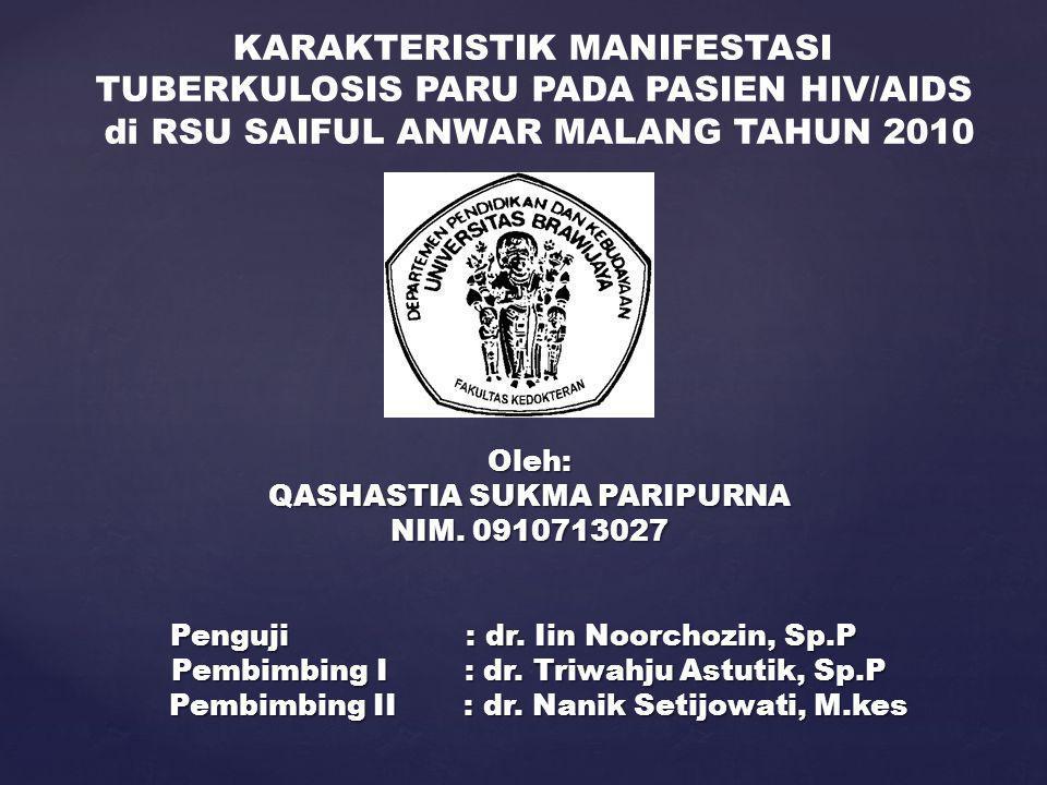 KARAKTERISTIK MANIFESTASI TUBERKULOSIS PARU PADA PASIEN HIV/AIDS
