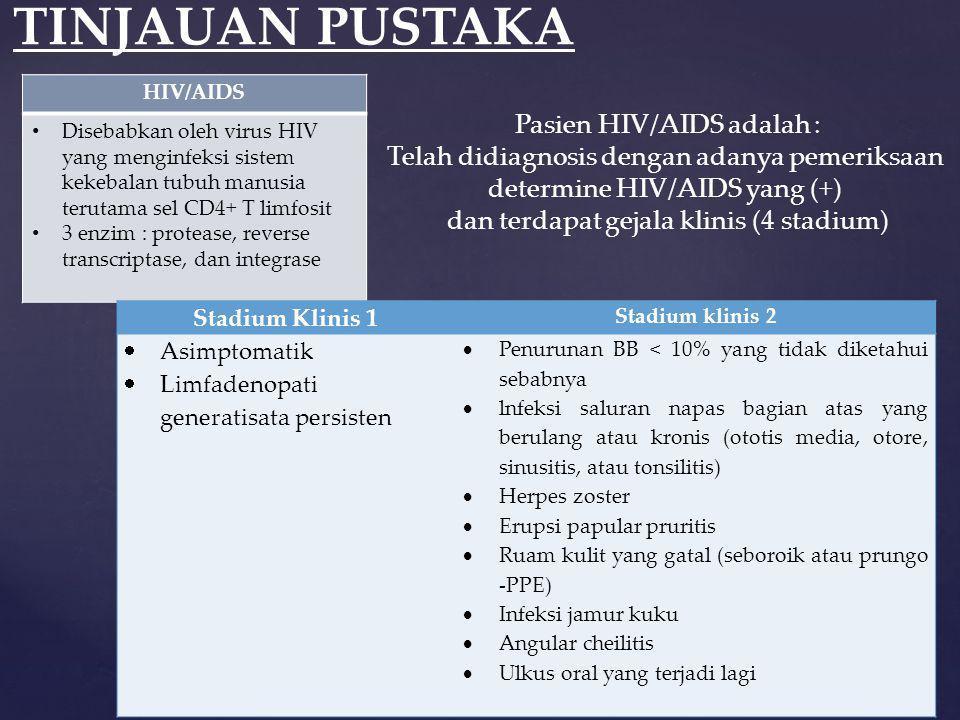 TINJAUAN PUSTAKA Pasien HIV/AIDS adalah :