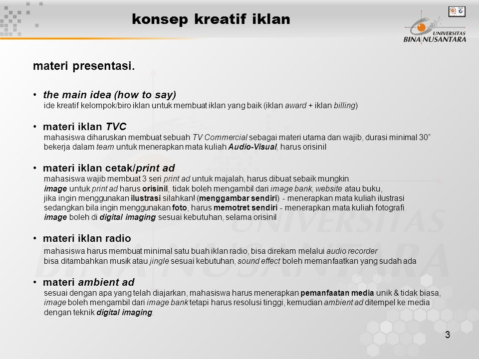 konsep kreatif iklan materi presentasi. the main idea (how to say)