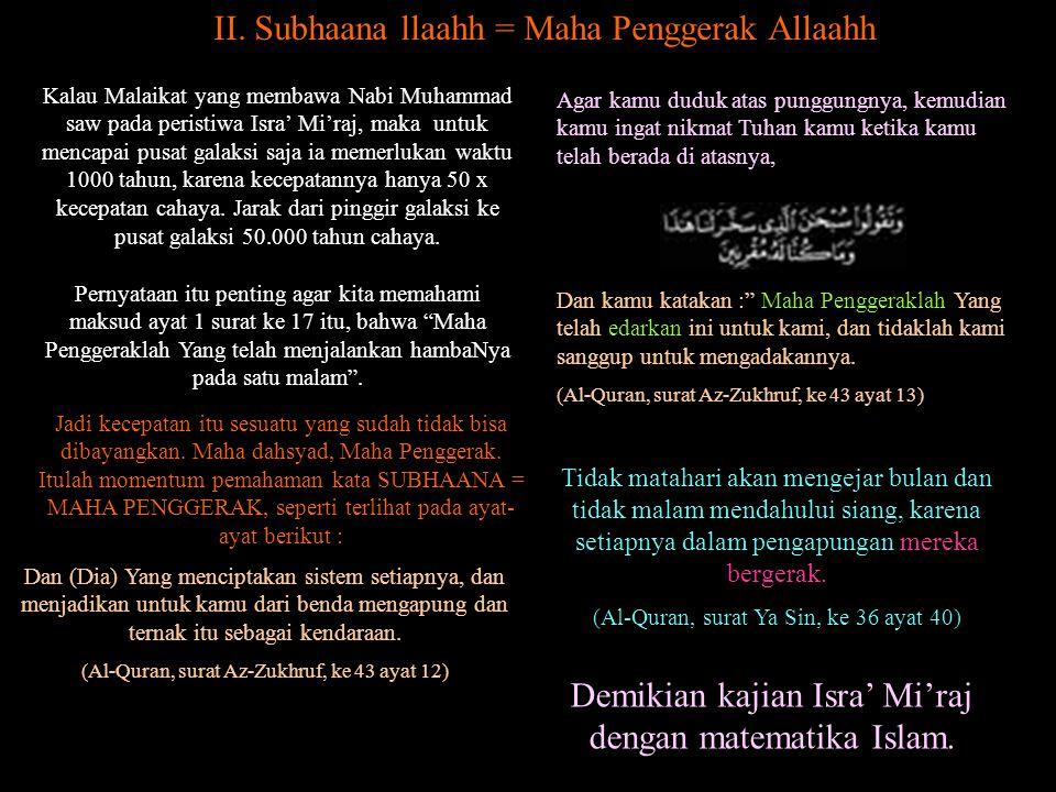 II. Subhaana llaahh = Maha Penggerak Allaahh
