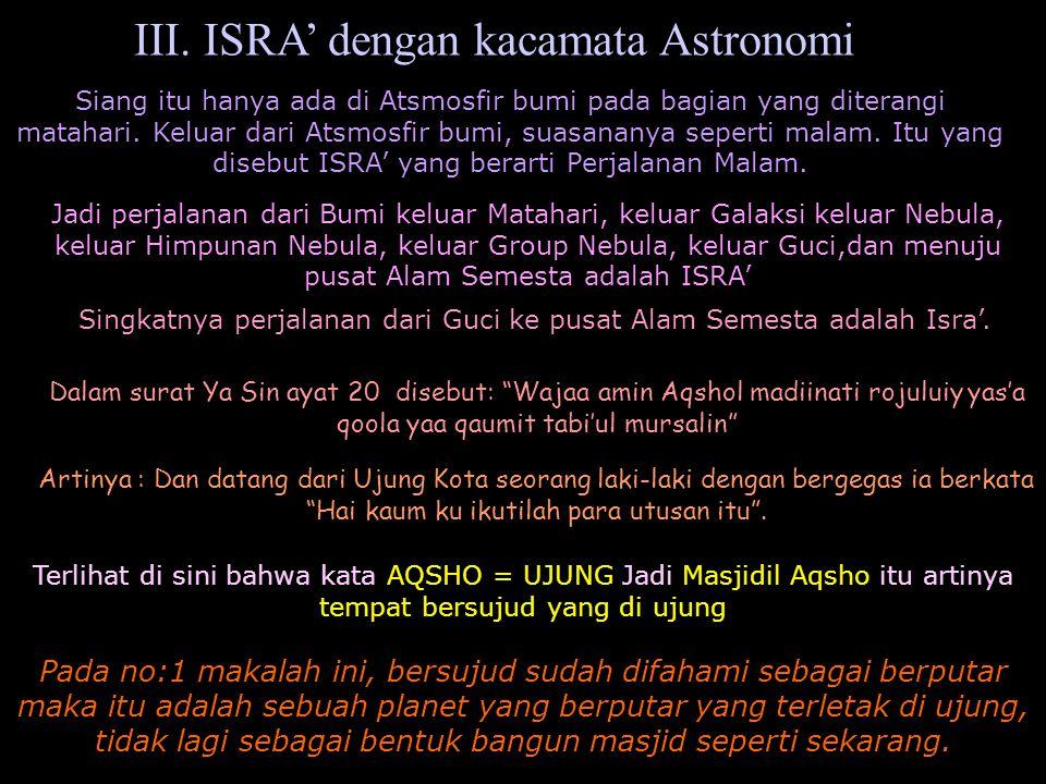 III. ISRA' dengan kacamata Astronomi