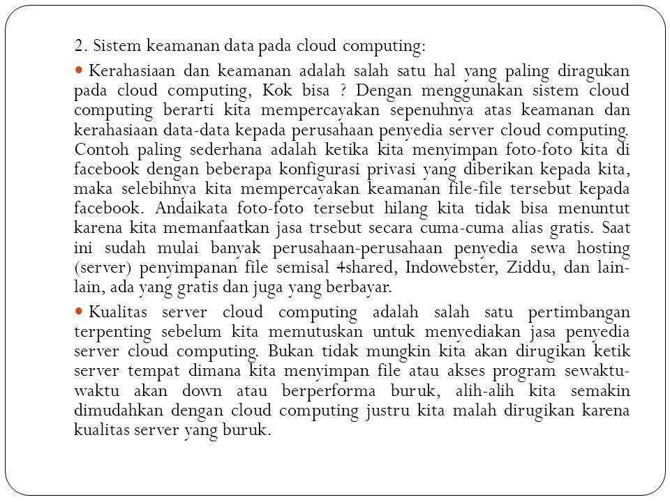 2. Sistem keamanan data pada cloud computing: