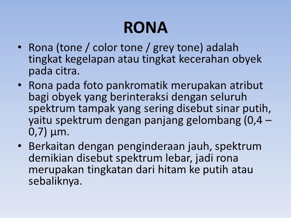 RONA Rona (tone / color tone / grey tone) adalah tingkat kegelapan atau tingkat kecerahan obyek pada citra.