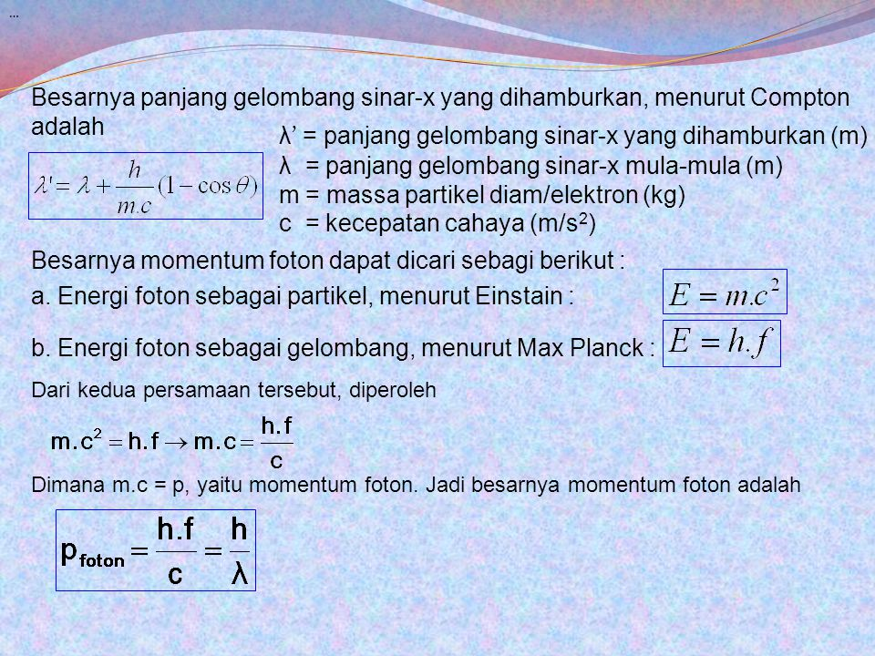 λ' = panjang gelombang sinar-x yang dihamburkan (m)