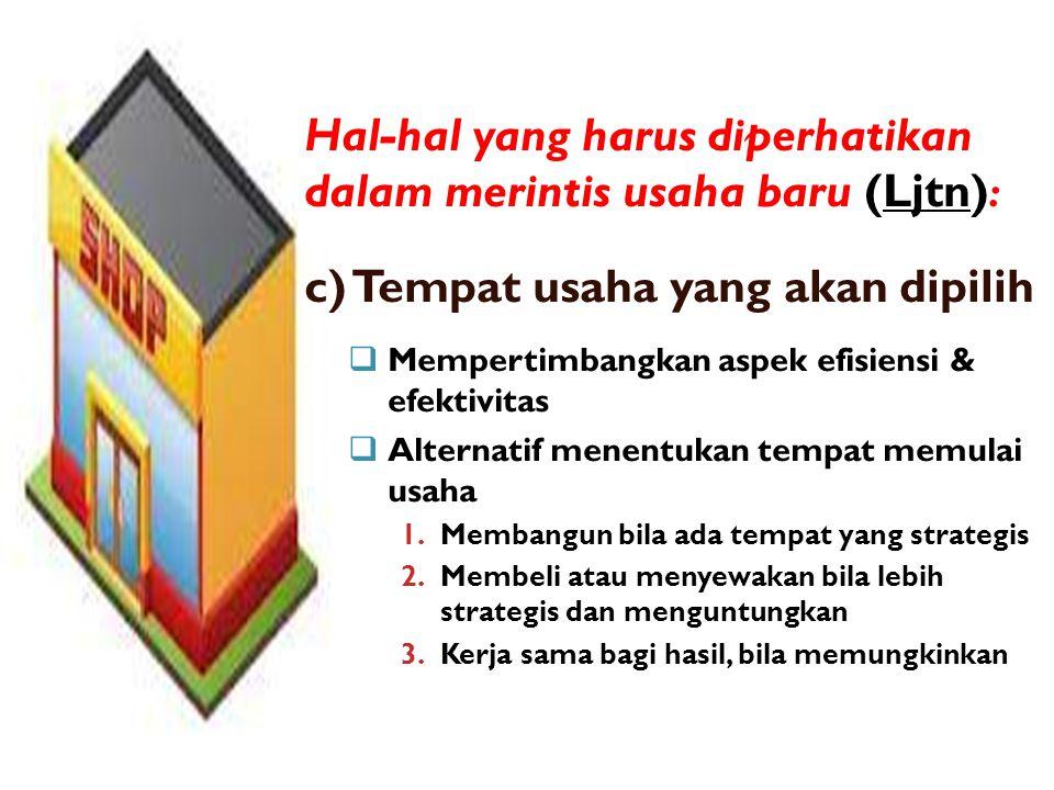 Hal-hal yang harus diperhatikan dalam merintis usaha baru (Ljtn):