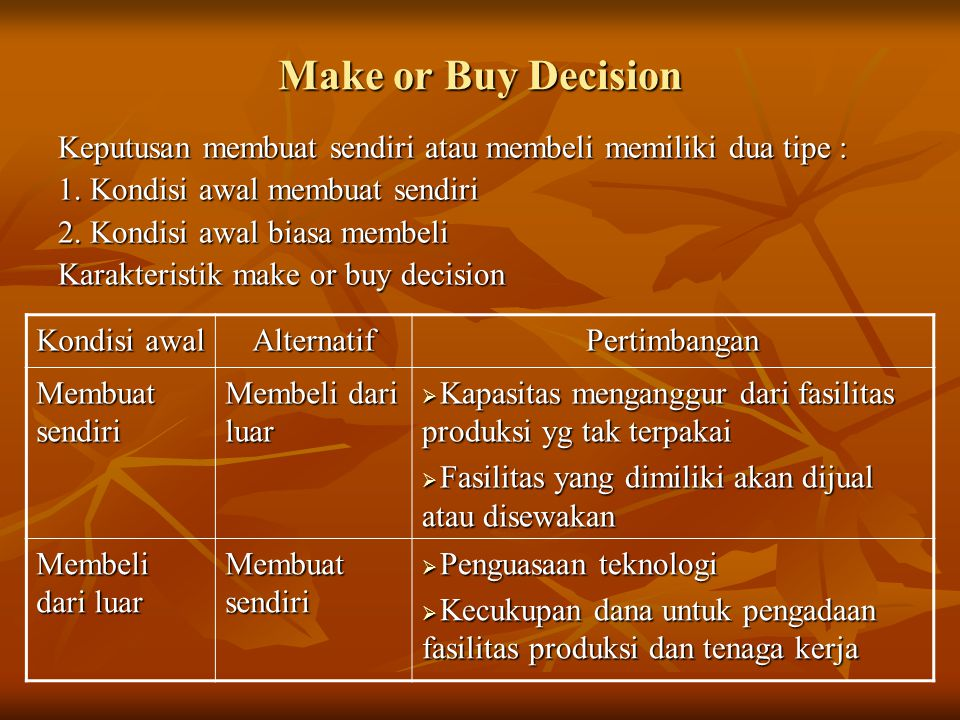 Make or Buy Decision Keputusan membuat sendiri atau membeli memiliki dua tipe : 1. Kondisi awal membuat sendiri.