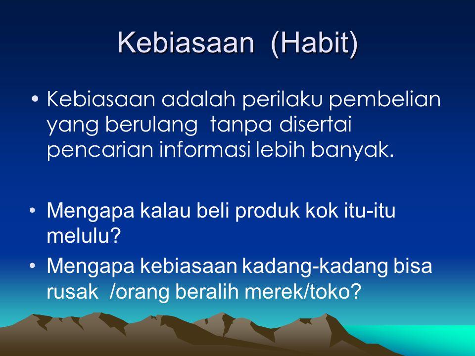 Kebiasaan (Habit) Kebiasaan adalah perilaku pembelian yang berulang tanpa disertai pencarian informasi lebih banyak.
