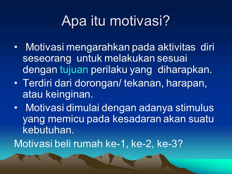 Apa itu motivasi Motivasi mengarahkan pada aktivitas diri seseorang untuk melakukan sesuai dengan tujuan perilaku yang diharapkan.