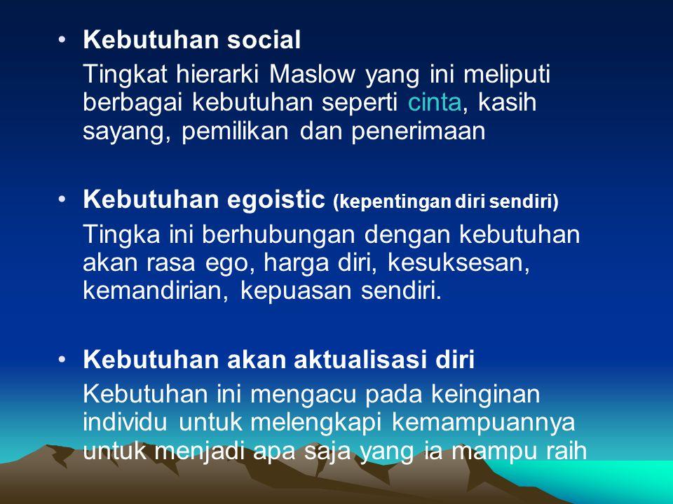 Kebutuhan social Tingkat hierarki Maslow yang ini meliputi berbagai kebutuhan seperti cinta, kasih sayang, pemilikan dan penerimaan.