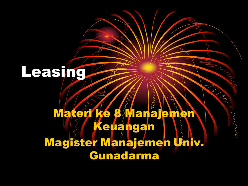 Materi ke 8 Manajemen Keuangan Magister Manajemen Univ. Gunadarma
