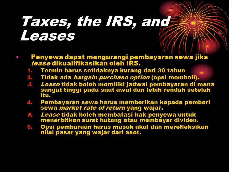 Taxes, the IRS, and Leases