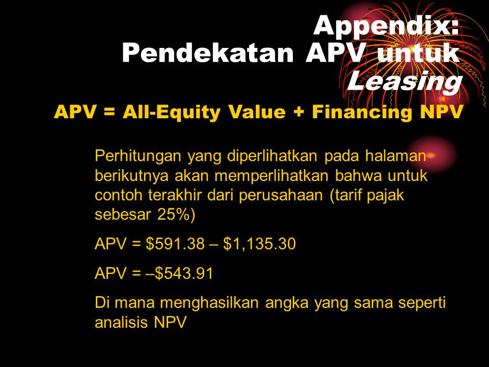Appendix: Pendekatan APV untuk Leasing