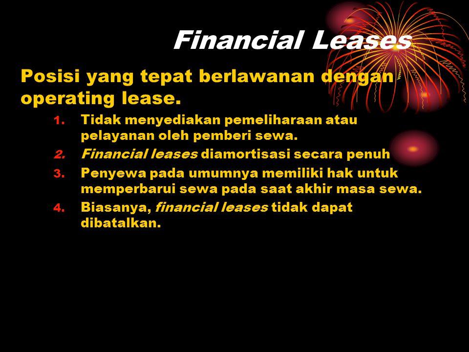 Financial Leases Posisi yang tepat berlawanan dengan operating lease.
